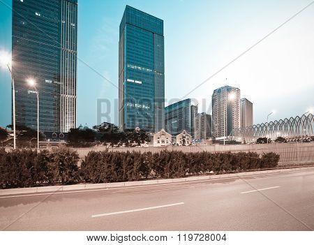 City Building Street Scene And Road Of Night Scene