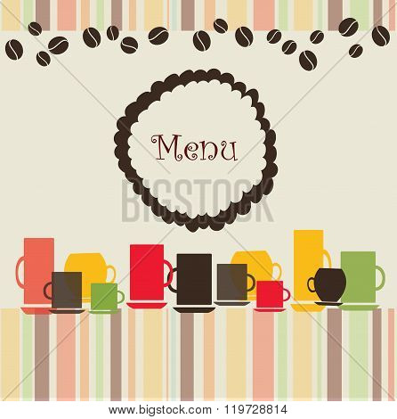 Menu banner with coffee cups