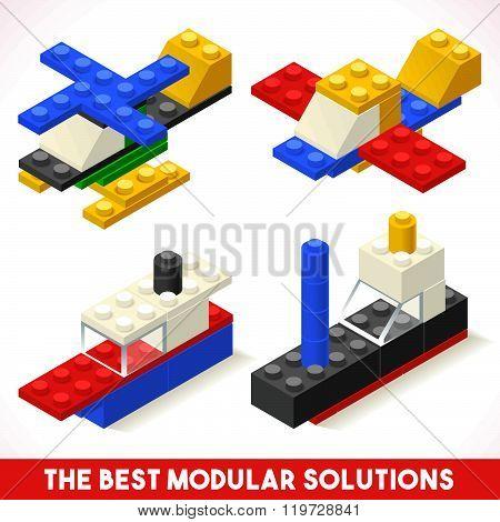 Toy Block Plane Ship Games Isometric