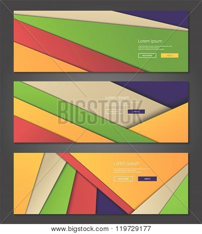 Unusual modern material design backgrounds banners set