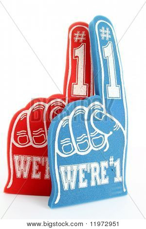 Red and blue foam fingers on white background