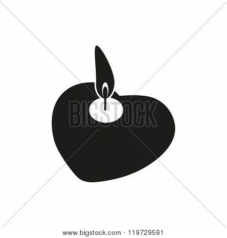 Candle light romantic logo symbol of kind and tender heart love and charity emblem on white