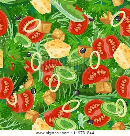 Seamless pattern with vegetable organic food.