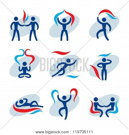 People 9 vector icons set. Human character concept illustrations. Humans vector signs. Human icons.