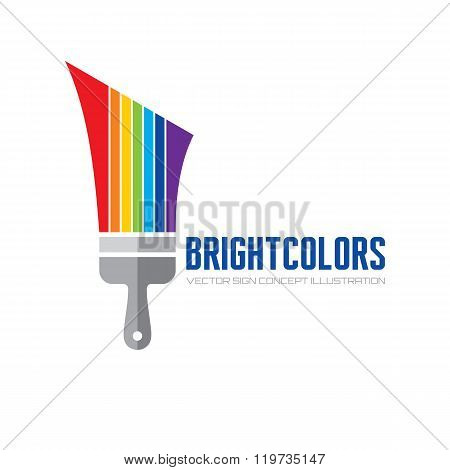 Bright color - vector logo concept illustration. Brush paint logo sign. Art logo sign.