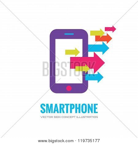 Smatphone vector logo concept illustration. Mobile phone vector logo creative illustration.