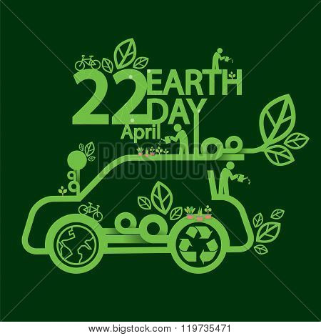 Earth Day Ecologic Driving Concept.