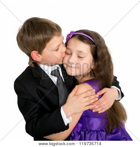 Little Children Hugging And Kissing. First Love