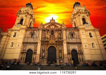 Lima. Peru. View Of The Cathedral Church