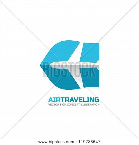 Air traveling - vector logo concept. Aircraft illustration. Airplane logo. Tickets company logo.