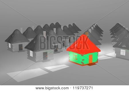 Color House On Night Background
