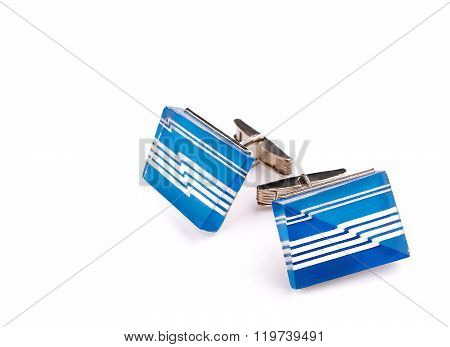 Blue Cufflinks With Ornament On White Background