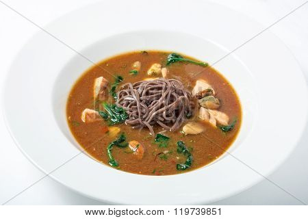Healthy Miso Soup with buckwheat noodles, turkey and seafood.