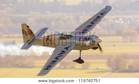 SPIELBERG, AUSTRIA - OCTOBER 25, 2014: Hannes Arch (Austria) competes in the Red Bull Air Race.