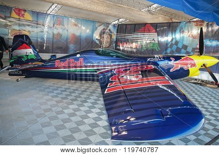 SPIELBERG, AUSTRIA - OCTOBER 25, 2014: Peter Besenyei's plane stands in the hangar before the Red Bull Air Race.