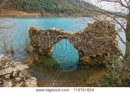 Old Ruins On The Lake Doxa On Peloponnese