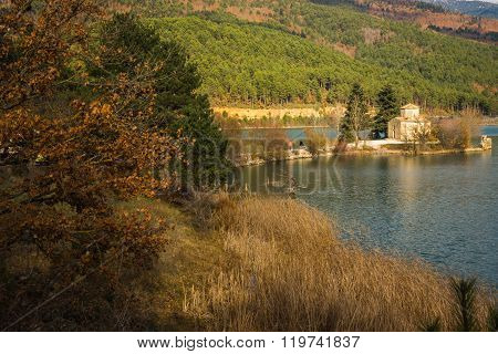 Tiny Church On An Island At Lake Do?a On Peloponnese