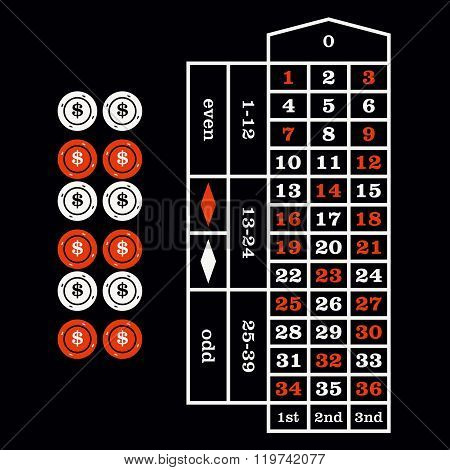 Casino  Design Elements Vector Icons. Casino Games. Chips On Black Background.