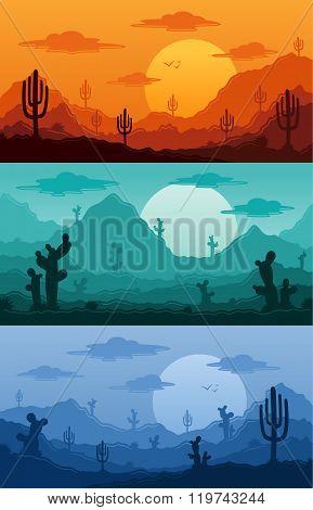 Desert Wild Nature Landscapes Vector Illustration