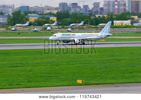 Airline Alitalia Airbus A320-216 Aircraft Is Landing In Pulkovo International Airport