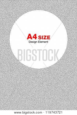Abstract Halftone Dots Frame. Circle Background. A4 size, a4 for