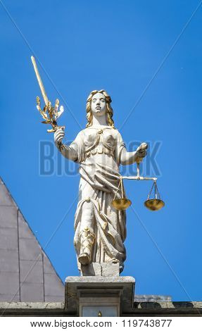 Sculpture Of Iustitia - Justice. Golden Gate In Gdansk, Poland
