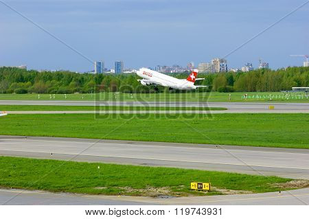 Swiss Airline Airbus A320-214 Aircraft Is Taking-off From Pulkovo International Airport