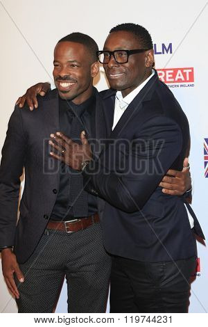 LOS ANGELES - FEB 26:  Chike Okonkwo, David Harewood at the The Film is GREAT Reception Honoring British 2016 Oscar Nominees at the Fig and Olive on February 26, 2016 in West Hollywood, CA