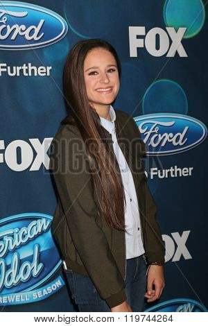 LOS ANGELES - FEB 25:  Avalon Young at the American Idol Farewell Season Finalists Party at the London Hotel on February 25, 2016 in West Hollywood, CA