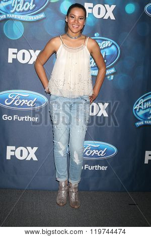 LOS ANGELES - FEB 25:  Tristan McIntosh at the American Idol Farewell Season Finalists Party at the London Hotel on February 25, 2016 in West Hollywood, CA
