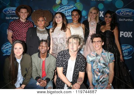 LOS ANGELES - FEB 25:  Top 10 Finalists at the American Idol Farewell Season Finalists Party at the London Hotel on February 25, 2016 in West Hollywood, CA