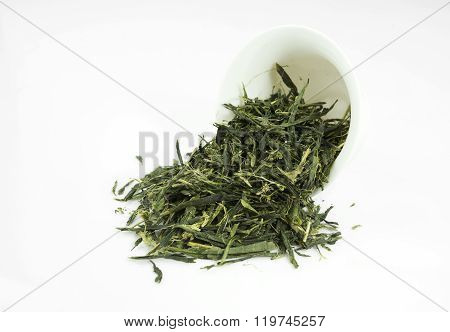 Tea (Sencha) isolated on white background.