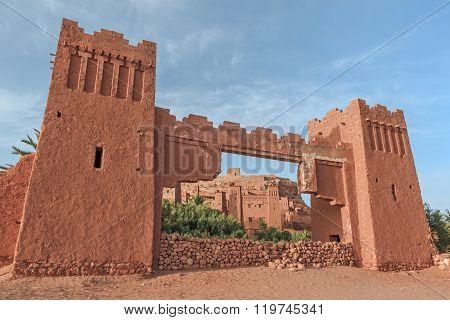 Entrance of ksar Ait Benhaddou, Ouarzazate. Morocco.