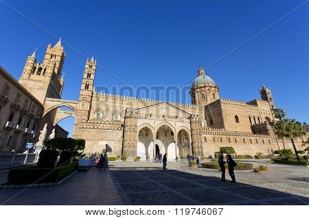 PALERMO, SICILY, February 2, 2016: The beautiful view of the Cathedral of Palermo. Is the city's cathedral and main church in Palermo Sicily Italy.