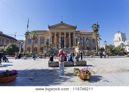 The Famous Opera House Teatro Massimo In Palermo, Italy.