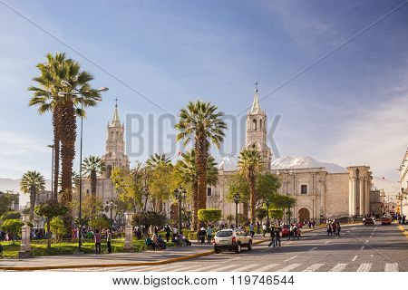 People On Main Square And Cathedral At Dusk, Arequipa, Peru
