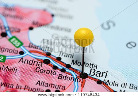 Bari pinned on a map of Italy
