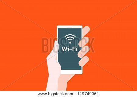 Hand hold phone with wi-fi hot spot icon.