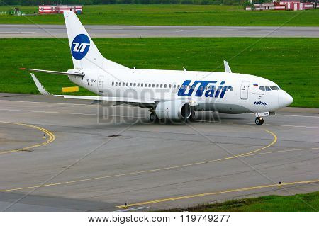 Utair Airline Boeing 737-500 Aircraft  In Pulkovo International Airport In Saint-petersburg, Russia