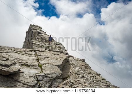 Free Mountain Climbing On Steep Rocky Slope