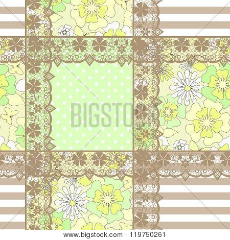 Patchwork Seamless Geometrical Pattern Texture Background With Ornamental