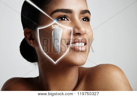 Spf Concept. Woman With A Sun Protection Cream On A Cheek
