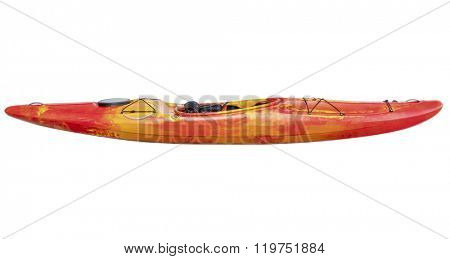 side view of crossover kayak (whitewater and river running kayak) isolated with a clipping path