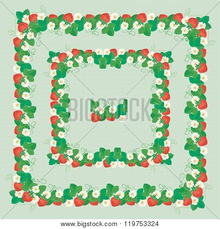 Square Frames With Strawberries, Flowers And Leaves Isolated On Gray Background. Repeated Element Fo