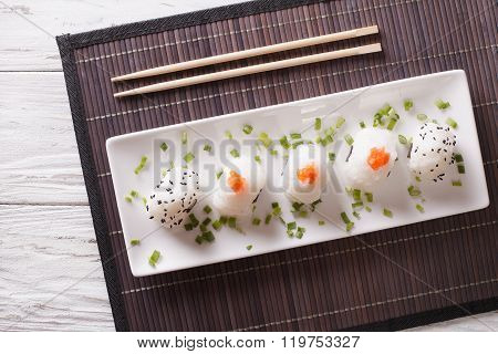 Japanese Food Onigiri Rice Balls On A Plate. Horizontal Top View