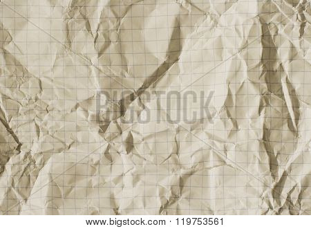 Old crumpled squared paper