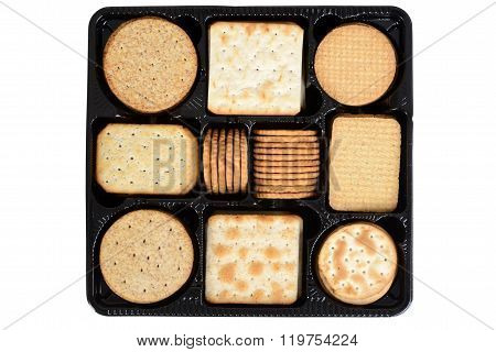 top view box assorted crackers
