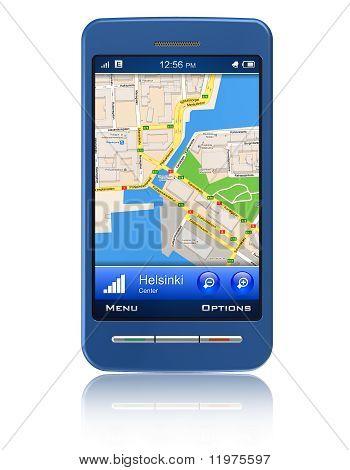 Navegador GPS en smartphone con pantalla táctil