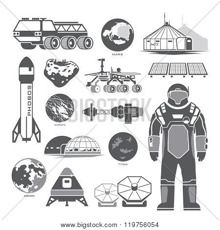 Black vector elements on the theme of astronomy