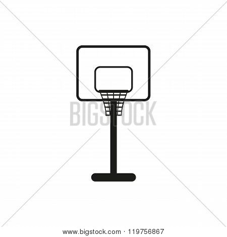 Simple black basketball backboard icon on white
